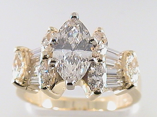 2.73 Carat Marquise Cut Diamond Engagement Ring SOLD