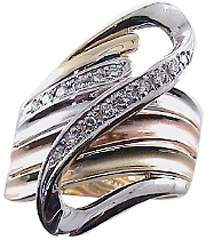 .25 Carat 3 Colored Gold & Diamond Swirl 14Kt Gold Anniversary Band