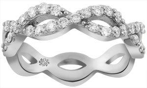 .50 Carat Elliptical Open Shank Diamond 14Kt White Gold Ring