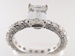 3.05 Carat EGL Emerald Cut Diamond Engagement Ring SOLD