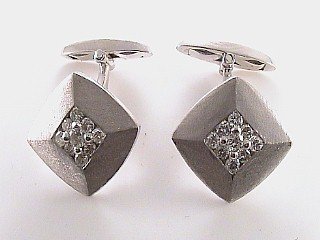 .78 Carat Round Diamond Gold Cuff Links