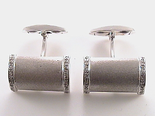 .25 Carat Rectangular Diamond Gold Cuff Links