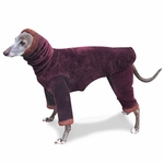 Italian Greyhound Mulberry/Cedar Windblock Hooded Fleece Bodysuit
