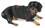 Dachshund Black Embroidered Fleece Sweater