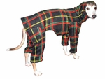 Italian Greyhound Black Plaid Hooded Fleece Bodysuit