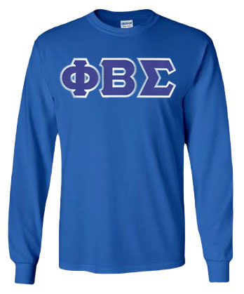Phi Beta Sigma Lettered Long Sleeve Tee- MADE FAST!