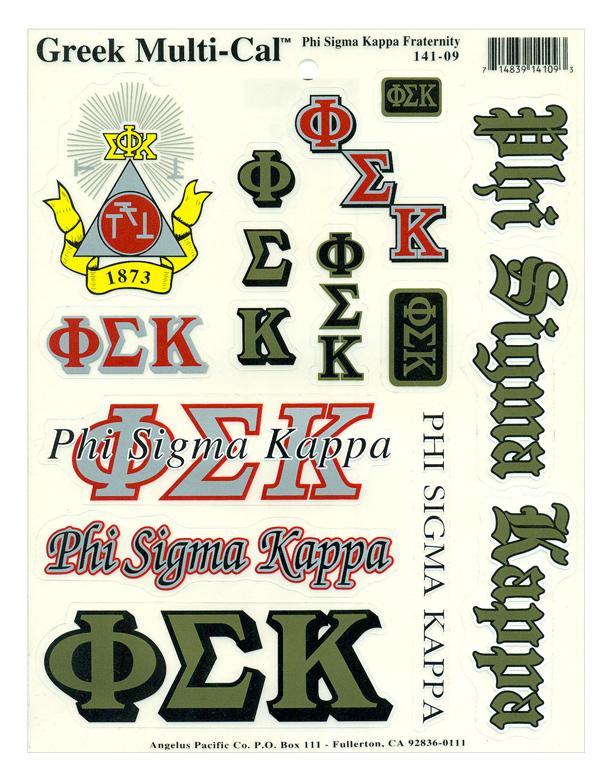 Phi Sigma Kappa Multi Greek Decal Sticker Sheet