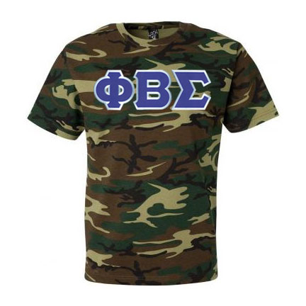 $19.95 Phi Beta Sigma Lettered Camouflage T-Shirt