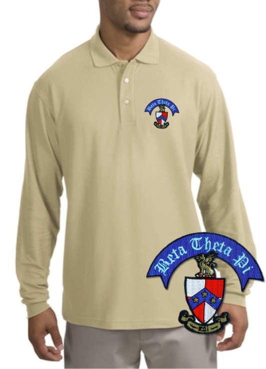 Greek Crest Long Sleeve Polo