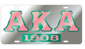Alpha Kappa Alpha License Plate - Silver, Founded
