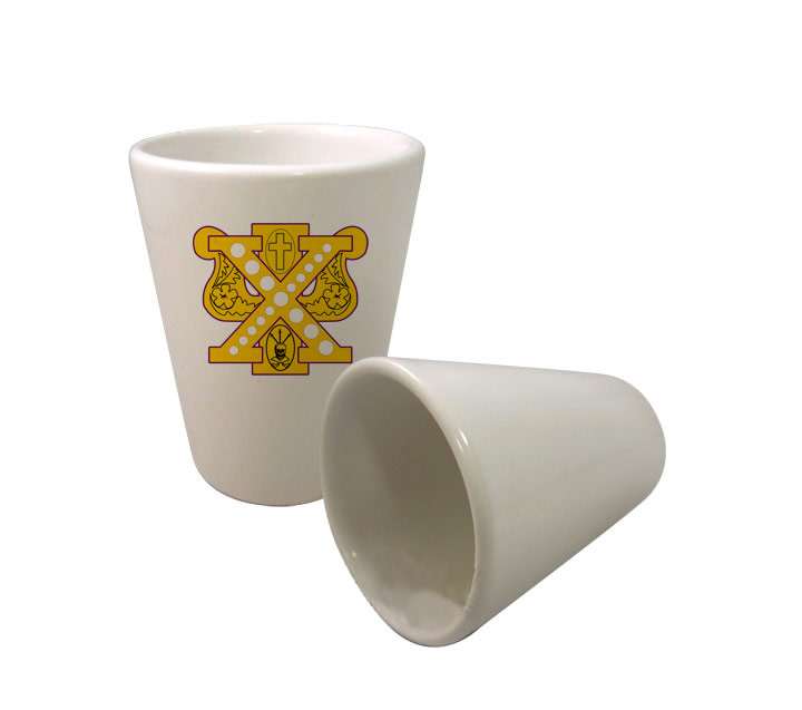 Chi Psi Crest Ceramic Collectors Glass