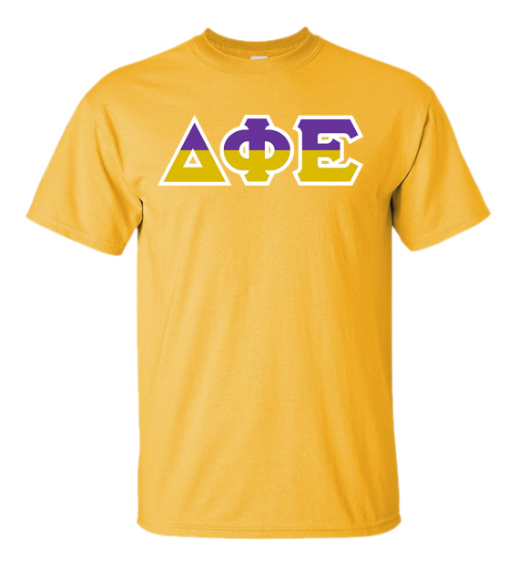 Delta Phi Epsilon Two Tone Greek Lettered T Shirt Sale 21