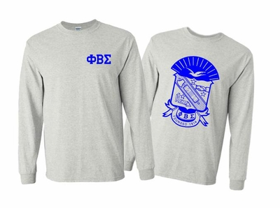 Phi Beta Sigma World Famous Crest Long Sleeve T-Shirt- MADE FAST!