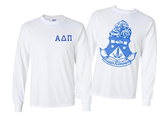 Alpha Delta Pi World Famous Crest Long Sleeve T-Shirt- $19.95!- MADE FAST!