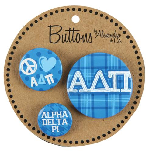 Alpha Delta Pi Button 3 pack