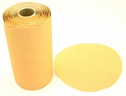 "Value Gold Self-Adhesive Paper Sanding Discs, 5"" Diameter, P100D Grit, Roll of 100."