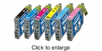 Remanufactured Epson T048 Ink Cartridge Bundle (T0481 / T0482 / T0483 / T0484 / T0485 / T0486) - click to enlarge