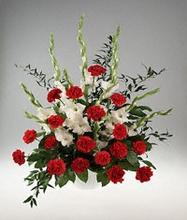 Red and white basket Sympathy