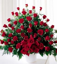 Four Dozen Red Rose Funeral Basket