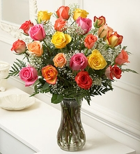 Long Stem Multicolored Roses,-24 Stems