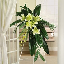 Sympathy standing spray arrangement