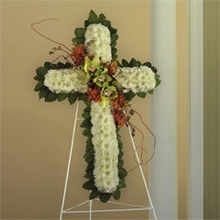 White Cushion Poms, Green  Orchids  cross sympathy
