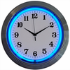"15"" Blue Neon Chrome Clock"