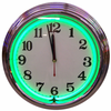 "15"" Green Neon Chrome Clock"