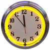 "15"" Yellow Neon Chrome Clock"