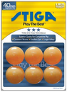 Stiga 3-Star Orange Table Tennis Balls (Pack of 6)