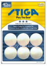 Stiga 3-Star White Table Tennis Balls (Pack of 6)