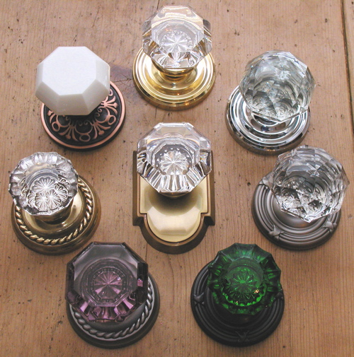 shown from top in clockwise order are old town clear with polished brass standard rosette diamond with polished chrome standard rosette diamond with