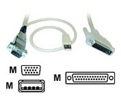 Rose Electronics 10 ft, DB25M to VGA HD15M / USB for Kbd-Ms