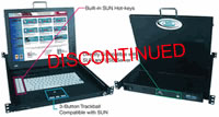 NTI SUN USB 17Inch Rackmount KVM Drawer, Touchpad mouse, 48VDC power