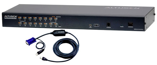 High-Density CAT5 16-Port/Single-User IP KVM Switch w/ Cables