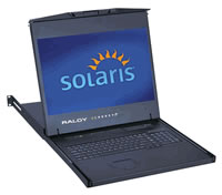 Raloy 1U 19Inch Widescreen SUN LCD Drawer w/ 3-Console 16-Port CAT6 IP KVM