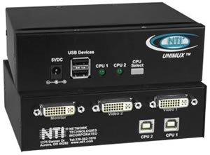 unimux dvi 2 nti 2 port usb dvi kvm switch