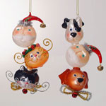 Sterling Santa Claus cat or dog Triple Christmas ornaments 6 1/2""