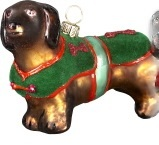 Sold Out Joy to the World Diva Dachsund dog green coat Christmas ornament