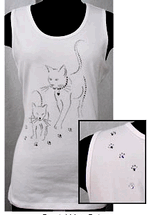 Christine Alexander white scoop tank top shirt sketched cat M to L , 1X to 3x