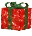 Raz Imports lighted red Christmas present  green bow 9.5""