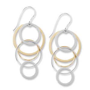 Fashion Two Tone Cascading Circles Earrings - 11841ss - 14k Yellow Gold / Sterling Silver