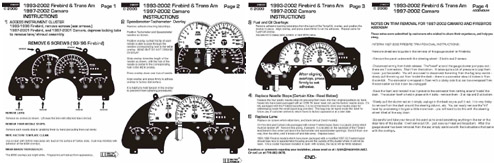 INSTRUCTIONS FOR 1993-2002 FIREBIRD, 1997-2002 CAMARO