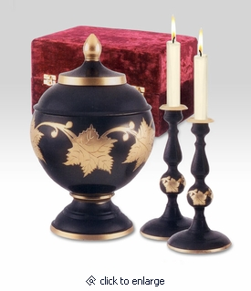 Ebony Leaf Memorial Set with Brass Cremation Urn and Candlesticks