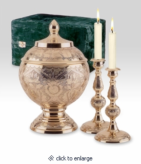 Etched Brass Cremation Memorial Set with Brass Cremation Urn and Candlesticks
