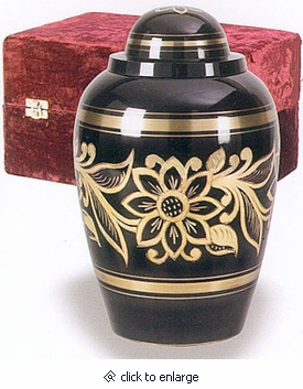 Ebony Bouquet Brass Cremation Urn