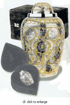 Silver-Gold Dynasty Brass Cremation Urn
