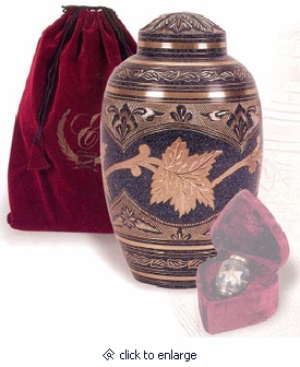 Marble Patina Leaf Brass Cremation Urn