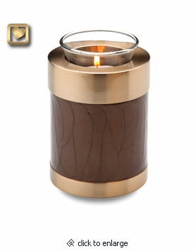 Tealight Candle Tall Simplicity Bronze Finish Brass Keepsake Cremation Urn
