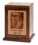 Photo Etched Vision Vertical Wood Cremation Urn - Engravable